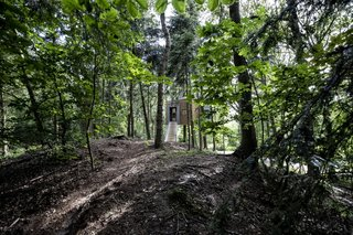 """A wooden bridge provides access to the elevated cabin. """"The woods is a mix of deciduous and coniferous forest with soft moss covering large expanses of the forest floor,"""" notes the architect. """"If you are lucky, and quiet, you may well see deer, rabbits, or pheasants."""""""