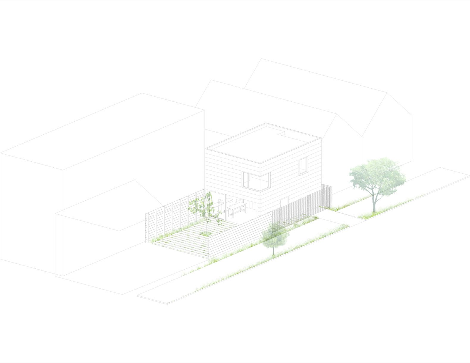 Harrison St. House Back House Drawing