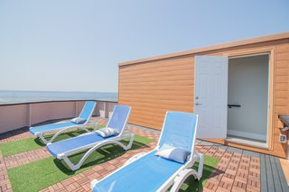 The rooftop deck is one of Saulnier and German's favorite parts of the home due to its ocean views and privacy.
