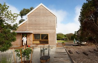 Due to the harsh coastal climate, it was important that the house be clad in durable materials. The exterior consists of shotcrete sheathed in salvaged western red cedar weatherboards.