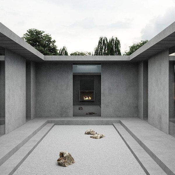 Fashion designer Jalil Peraza and Kanye West released this rendering of a prefabricated concrete affordable housing design last year. It is unknown whether Yeezy Home will be pursuing this design, however, it bears no real similarities to the prefab dome prototypes.