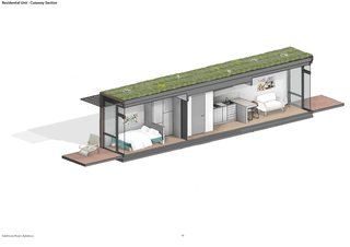 A cutaway section of a Gatehouse Road container house.