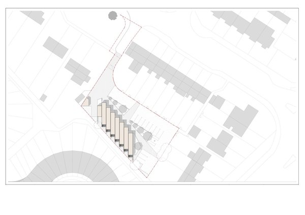 The containers will be aligned on a north-south axis and staggered to create privacy between units and to avoid a major sewer that runs through the site. The placement also retains access to existing parking and the Serpentine homes' back gardens.