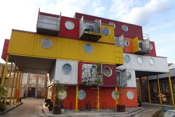 The architects drew design inspiration from Container City, a colorful cargotecture complex of affordable live/work spaces that were first installed in the heart of London's Docklands in 2001.