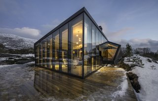 Approximately 14 tons of triple-pane glass was used for the cabin.