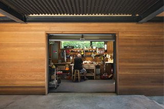 A peek inside the ground-floor workshop designed for the grandfather's woodworking projects.