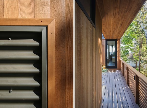 Warm, natural cedar is used for the siding, railings, outdoor shower enclosure, and brise-soleil.