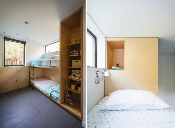For the most efficient use of space, the three bedrooms feature built-in beds and wardrobes. The family's two young daughters share custom Baltic birch built-in beds with integrated cubbies.