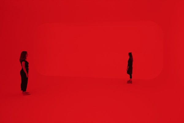 """Amesha Spentas is one of Turrell's Ganzfeld installations, which use light projections to engulf the viewing space. The German word Ganzfeld—meaning """"total field""""—describes the phenomenon of sensory deprivation in which depth perception is completely lost."""