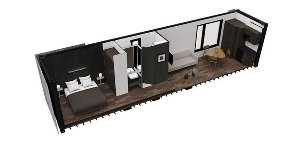 """""""The strength and durability of the shipping container structure allows the units to be placed on any terrain that can provide access to a large trailer and crane, and, as no complex foundations are necessary, minimal building permissions are required, thus eliminating time-consuming construction challenges,"""" note the architects."""