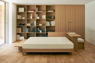 The model home is furnished with Muji's line of home goods.