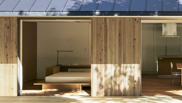 Japanese cedar wraps around the prefab Yō no Ie House, which is topped with a Galvalume steel roof.