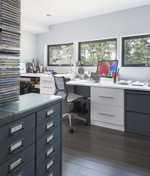 A peek inside the light-filled office on the north side of the house.