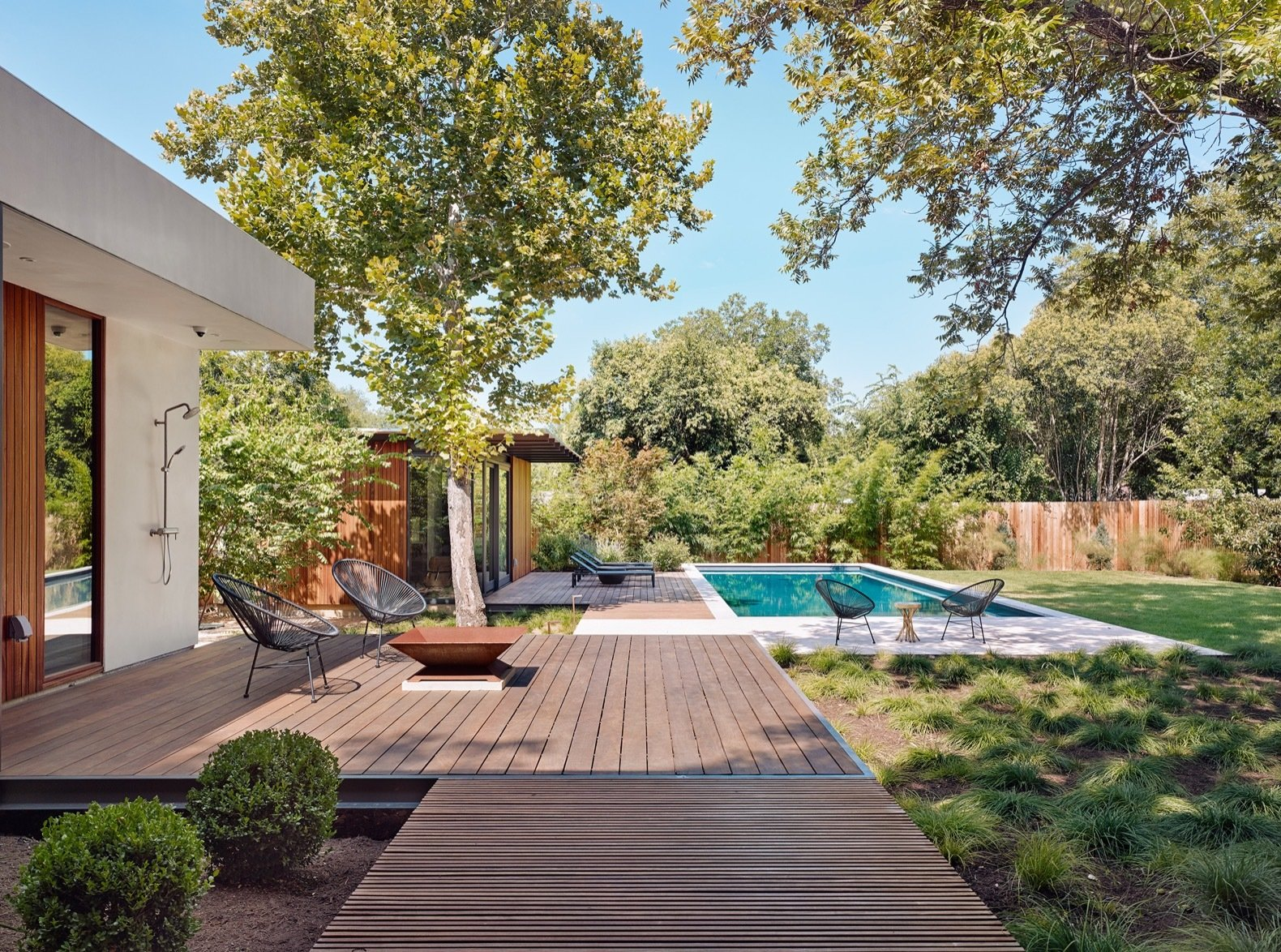 Canopy House by A Parallel Architecture outdoor ipe deck and pool