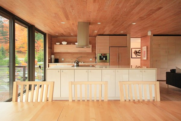 "Honey-toned timber cocoons the interior. The kitchen cabinetry is IKEA ""Akurum"" Series with Modern Craft fronts."