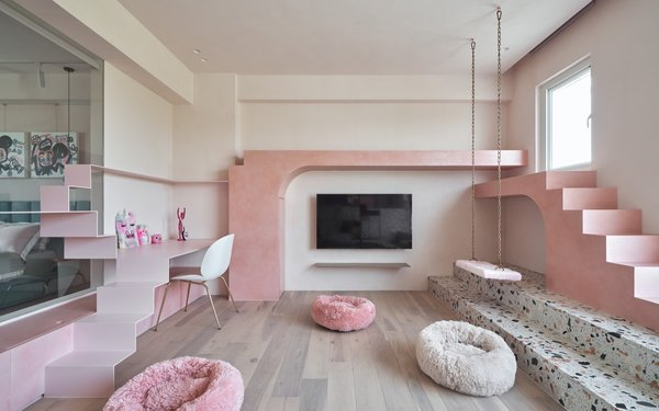 """""""We also converted cat-scale extensions into furniture that people can use, such as desks, lockers, and chairs, so that owners can enjoy their activities and pet interactions in this space,"""" notes the firm."""