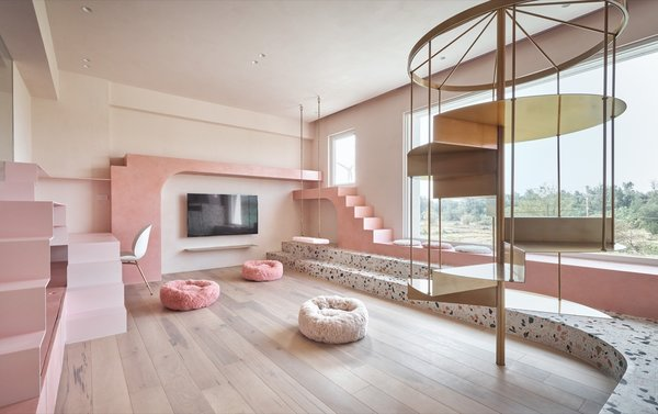 """The wooden floor and pink Pandomo surfaces were selected for their scratch-proof qualities, and to give the """"cats' room"""" a sense of warmth. The wall coating absorbs smells and helps regulate humidity levels."""
