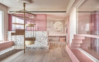 This Bubblegum-Pink Home Is a Plush Playground for Three Lucky Cats