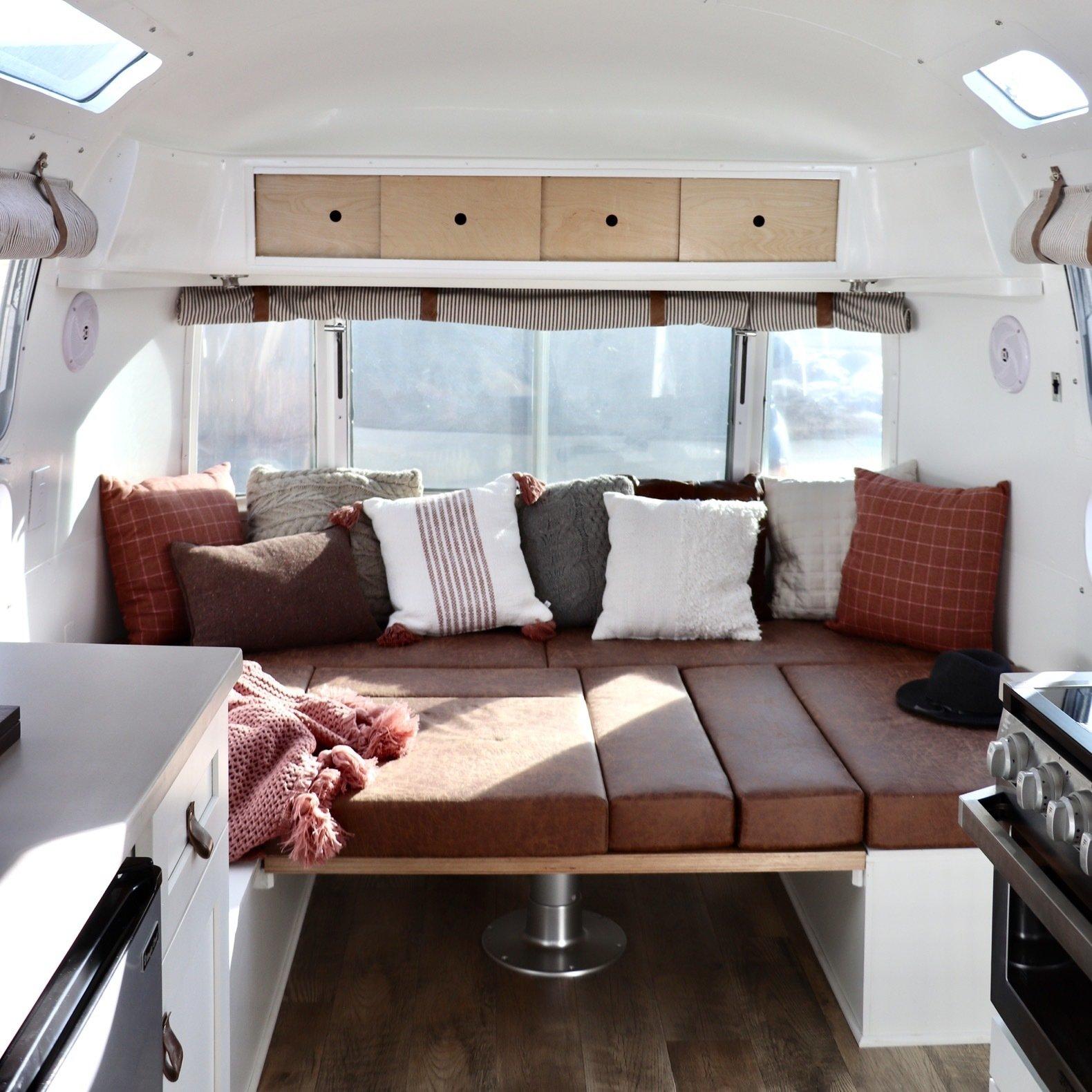 Airstream Overlander renovation Colorado Caravan living room