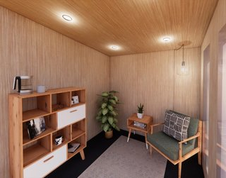 Built with an R-21 envelope, Drop Structures' Micro unit is clad in a maintenance-free standing-seam metal exterior and features a Baltic birch interior with luxury vinyl flooring.