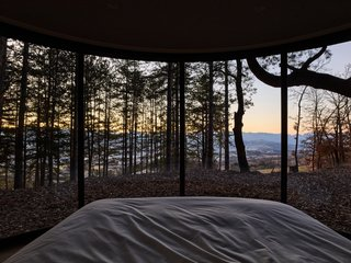 A view from the LumiPod bed in the French Alps.