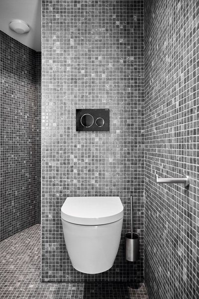 The bathroom is fitted with a dual-flush toilet, shower, and sink. Ceramic mosaic tiles line the walls and floor.