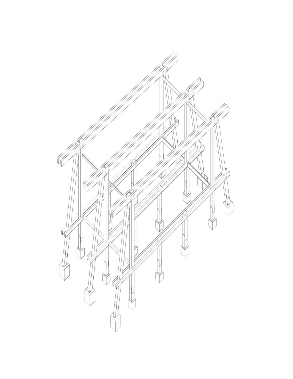 Patio House in Lago Ranco structural diagram
