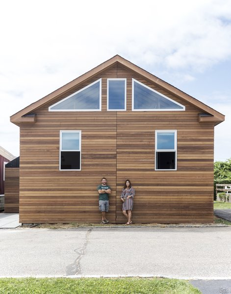The Montauk Surf Shack is clad in stacked ipe wood siding. Under Montauk Shores' rules, all new construction must be wheeled in.