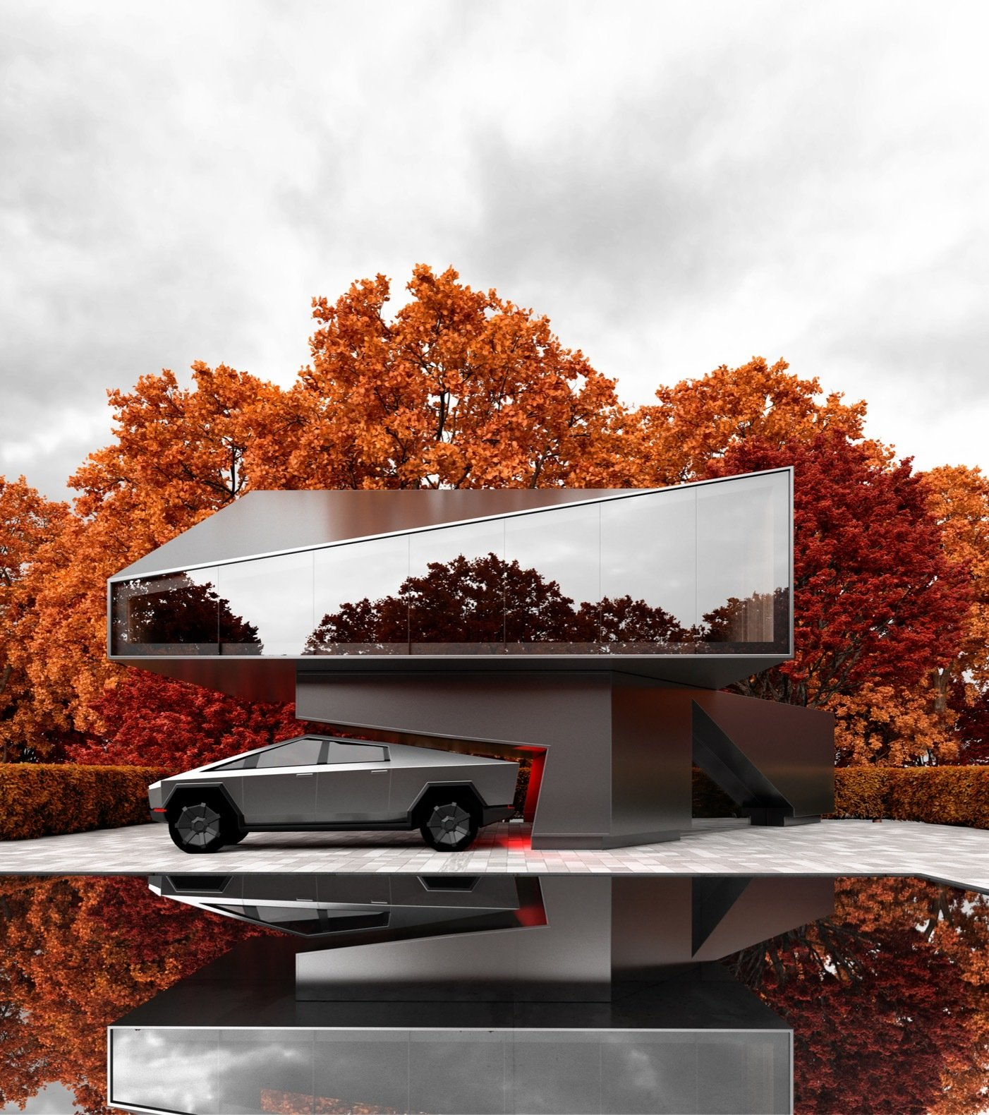 This modern home takes cues from the geometry of the Tesla Cybertruck.  Photo 4 of 8 in A Russian Architect's Ethereal Glass Houses Have Captivated the Internet