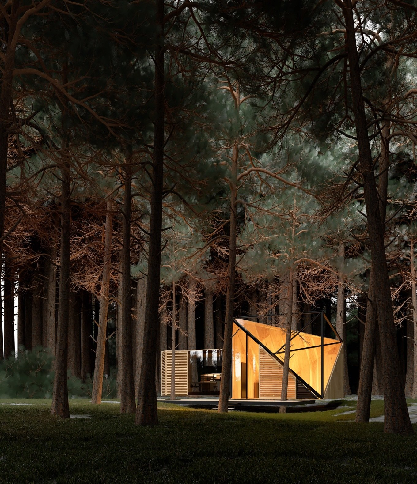Exterior and House Building Type Nerovnya took inspiration of a forest bonfire to create AMBER house, a luxurious yet cozy retreat that resembles piece of glowing amber at night.  Photo 8 of 8 in A Russian Architect's Ethereal Glass Houses Have Captivated the Internet