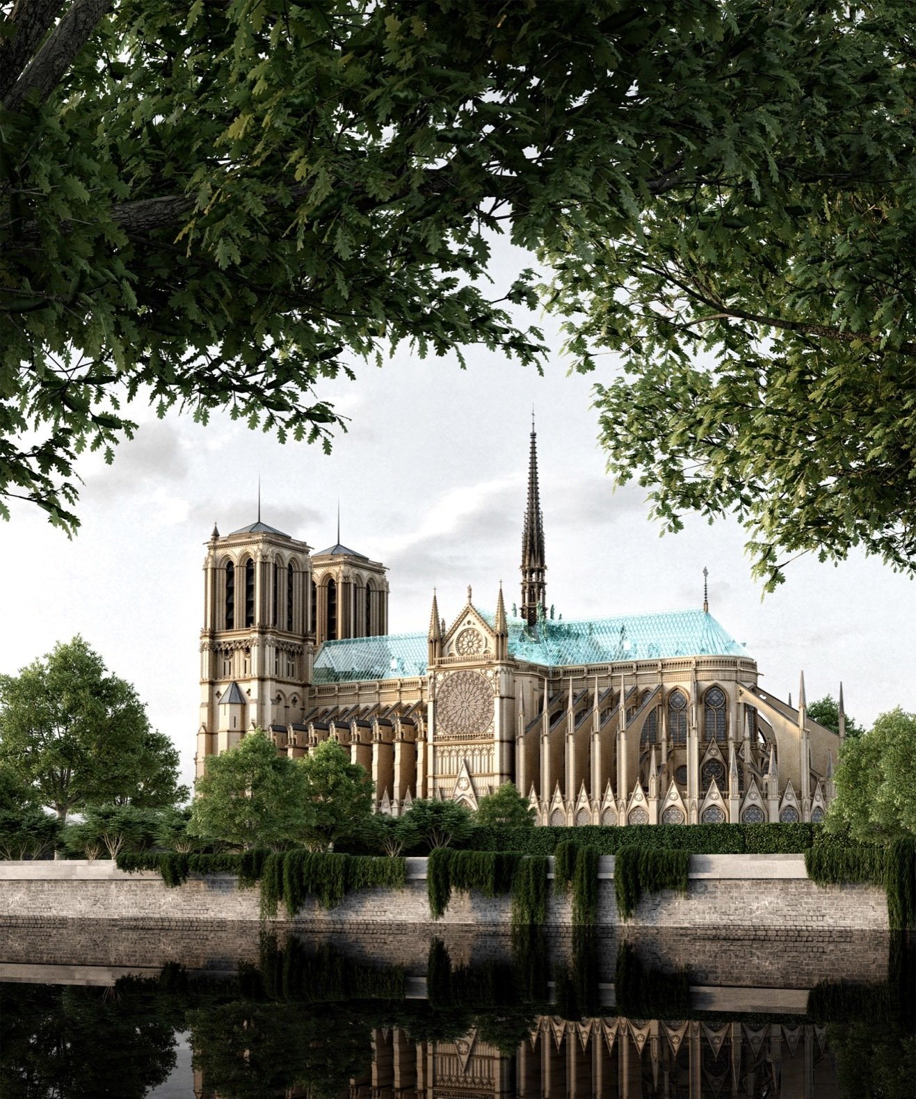 In 2019, Nerovnya proposed replacing the Notre Dame's fire-damaged gothic spire and roof with a modern, tempered-glass-and-titanium addition.  Photo 1 of 8 in A Russian Architect's Ethereal Glass Houses Have Captivated the Internet