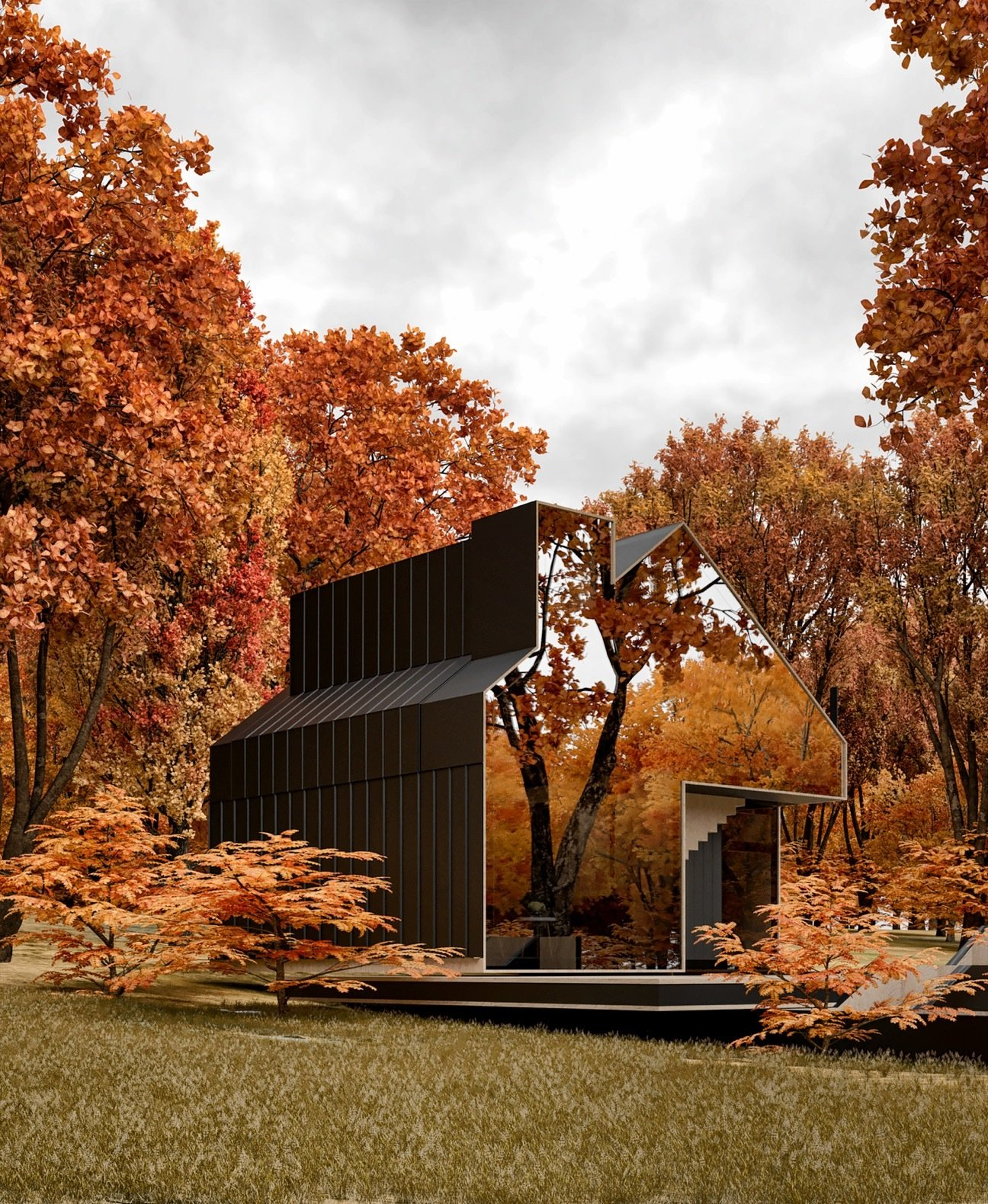Exterior and House Building Type These autumn-styled renderings belong to the firm's recently released art book that received an award at the St. Petersburg Architect Today exhibition.  Photo 3 of 8 in A Russian Architect's Ethereal Glass Houses Have Captivated the Internet