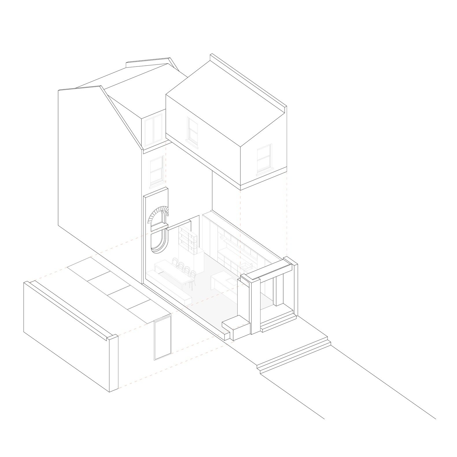 Glyn House exploded isometric diagram  Photo 19 of 19 in A London Victorian Gets a Dreamy Addition Anchored by a Terrazzo Island
