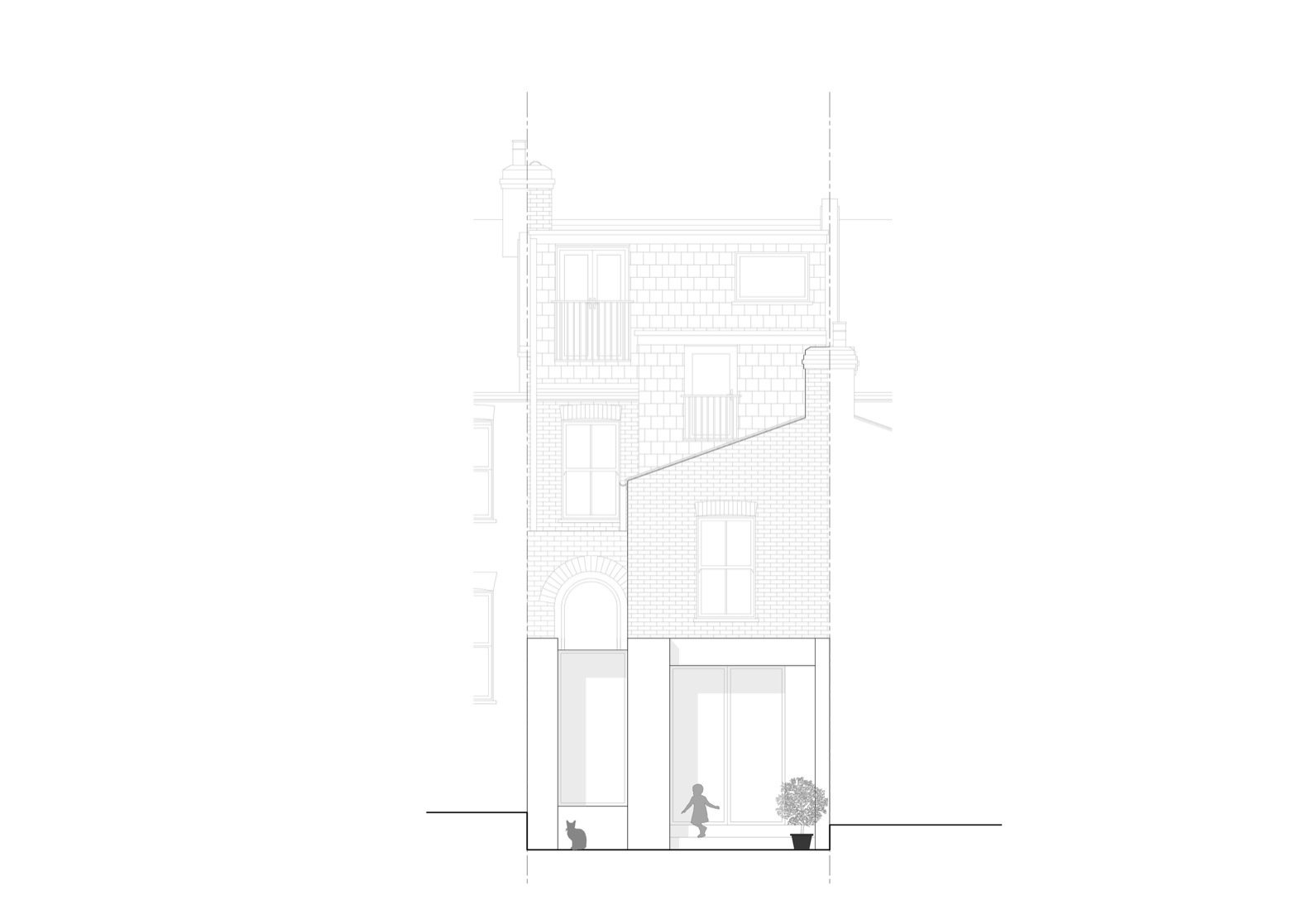 Glyn House rear elevation  Photo 17 of 19 in A London Victorian Gets a Dreamy Addition Anchored by a Terrazzo Island