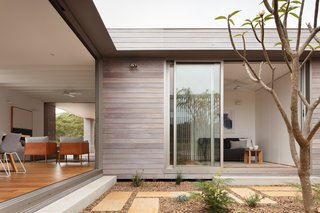 Sliding glass doors blur the lines between indoors and out.