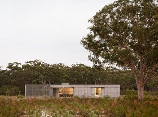 The two-bedroom, two-bath Courtyard House is located in a clearing in the New South Wales coastal suburb of Hawks Nest, just a few minutes' drive from the beach.