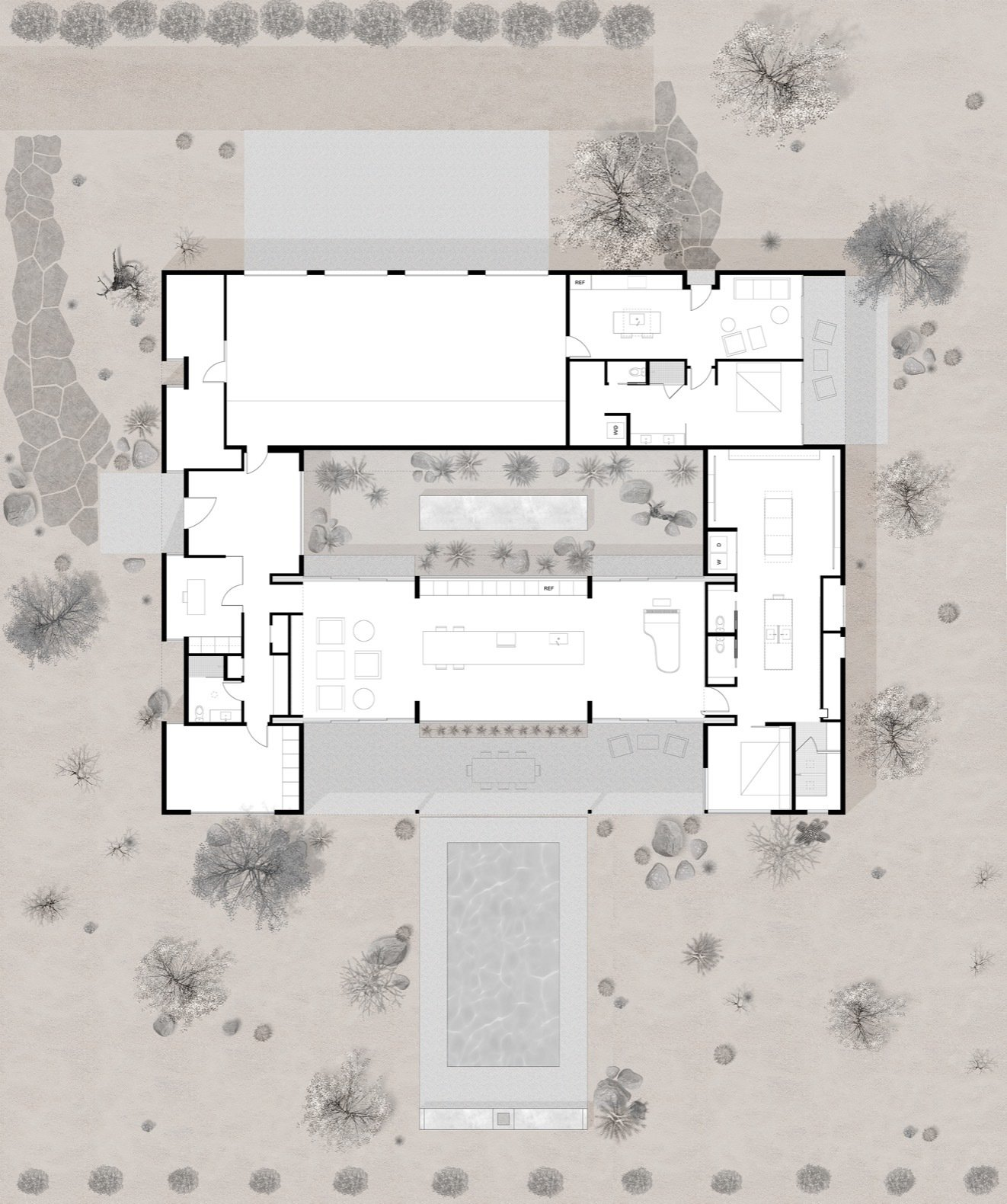 O-asis House floor plan  Photo 26 of 27 in This Minimalist, Solar-Powered Home Is a True Desert Oasis