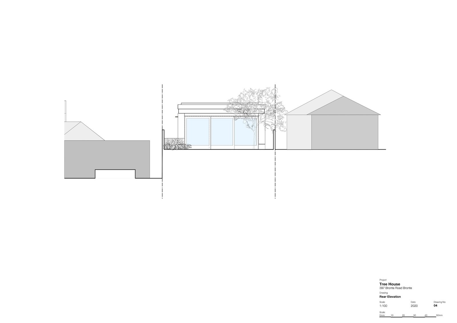 Rear elevation of Tree House by Madeleine Blanchfield Architects