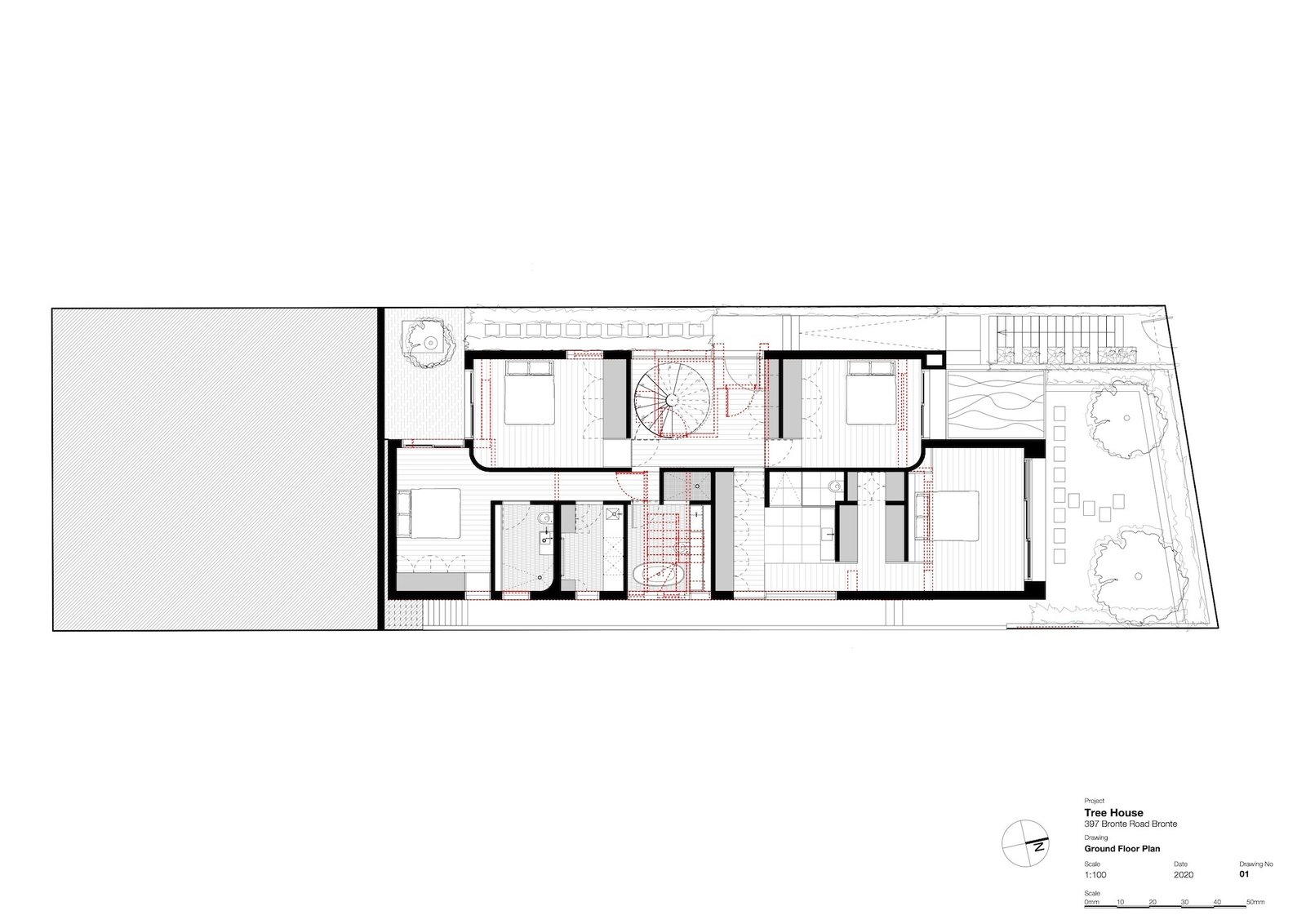 Ground-level floor plan of Tree House by Madeleine Blanchfield Architects