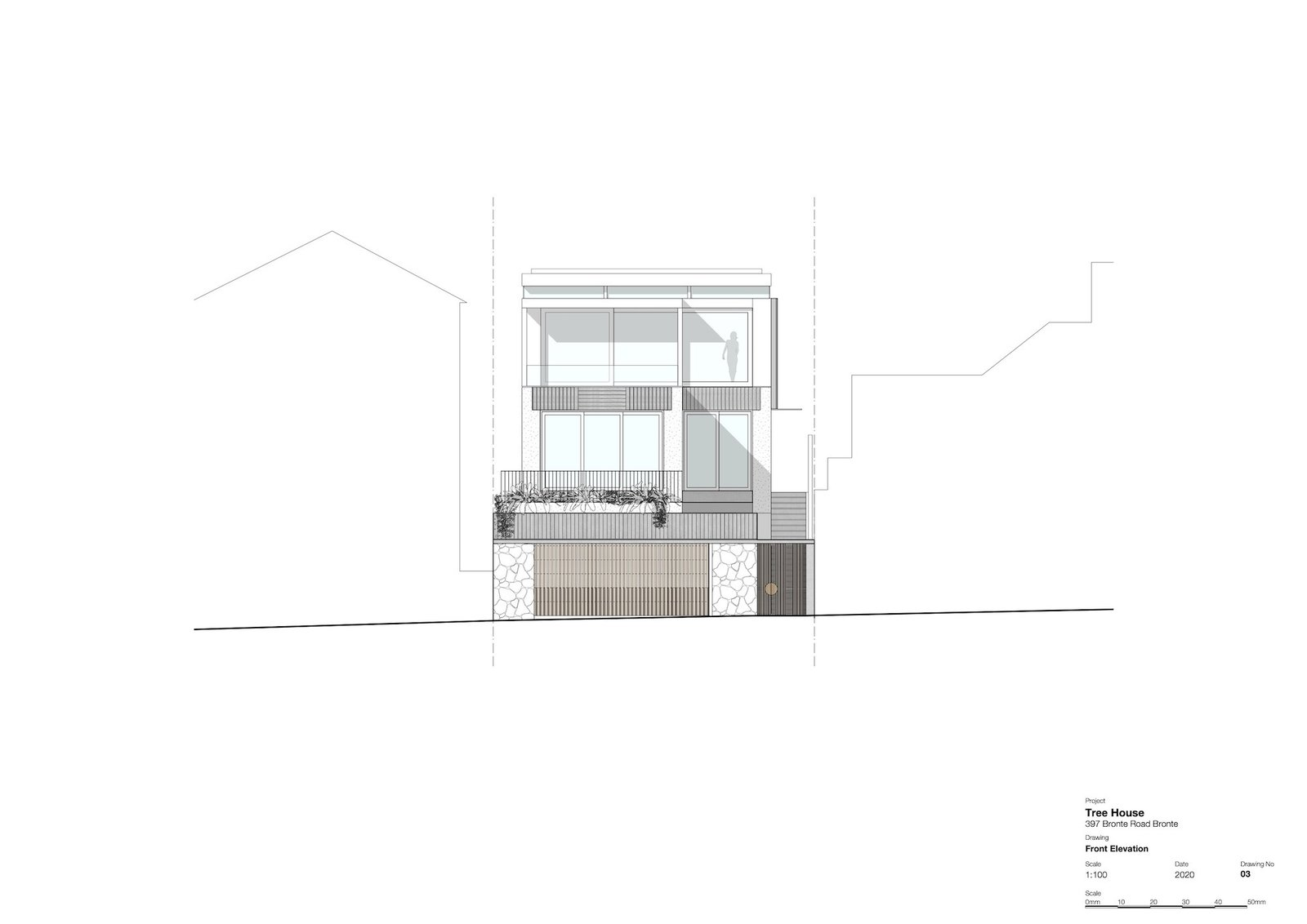 Front elevation of Tree House by Madeleine Blanchfield Architects