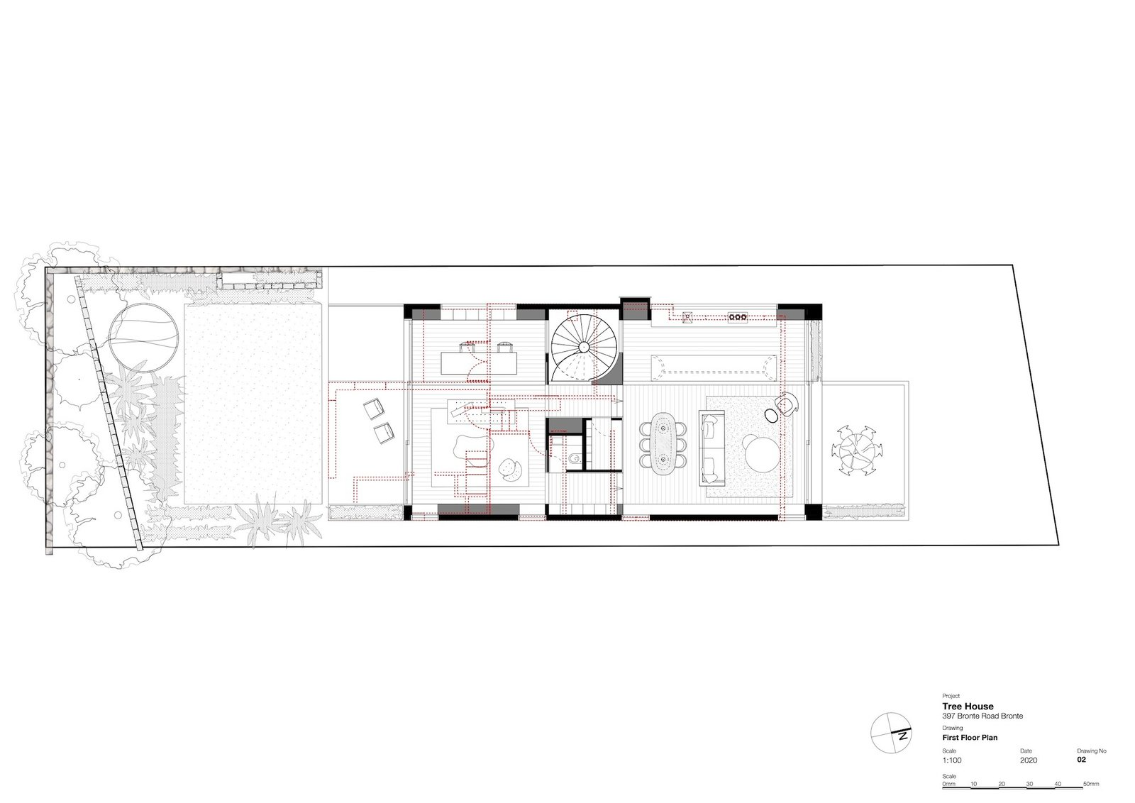 Upper-level floor plan of Tree House by Madeleine Blanchfield Architects