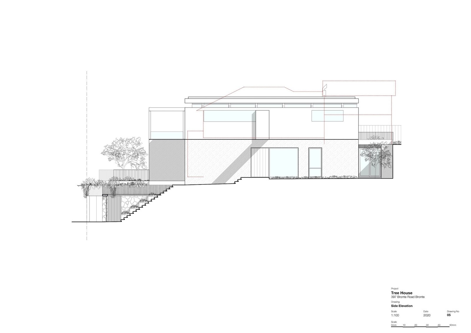 Side elevation of Tree House by Madeleine Blanchfield Architects