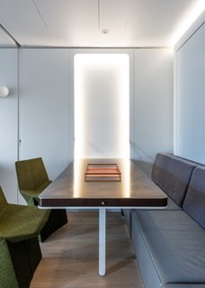 Integrated LEDs minimize the need for additional lighting fixtures.
