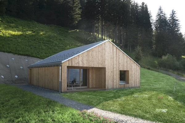 The prefab chalets are topped with zinc roofs and wrapped in locally sourced larch wood. Like the Pods and the on-site restaurant Les Cerniers, the chalets are energy self-sufficient and draw power from a hydroelectric turbine that also produces enough electricity for over 200 households.
