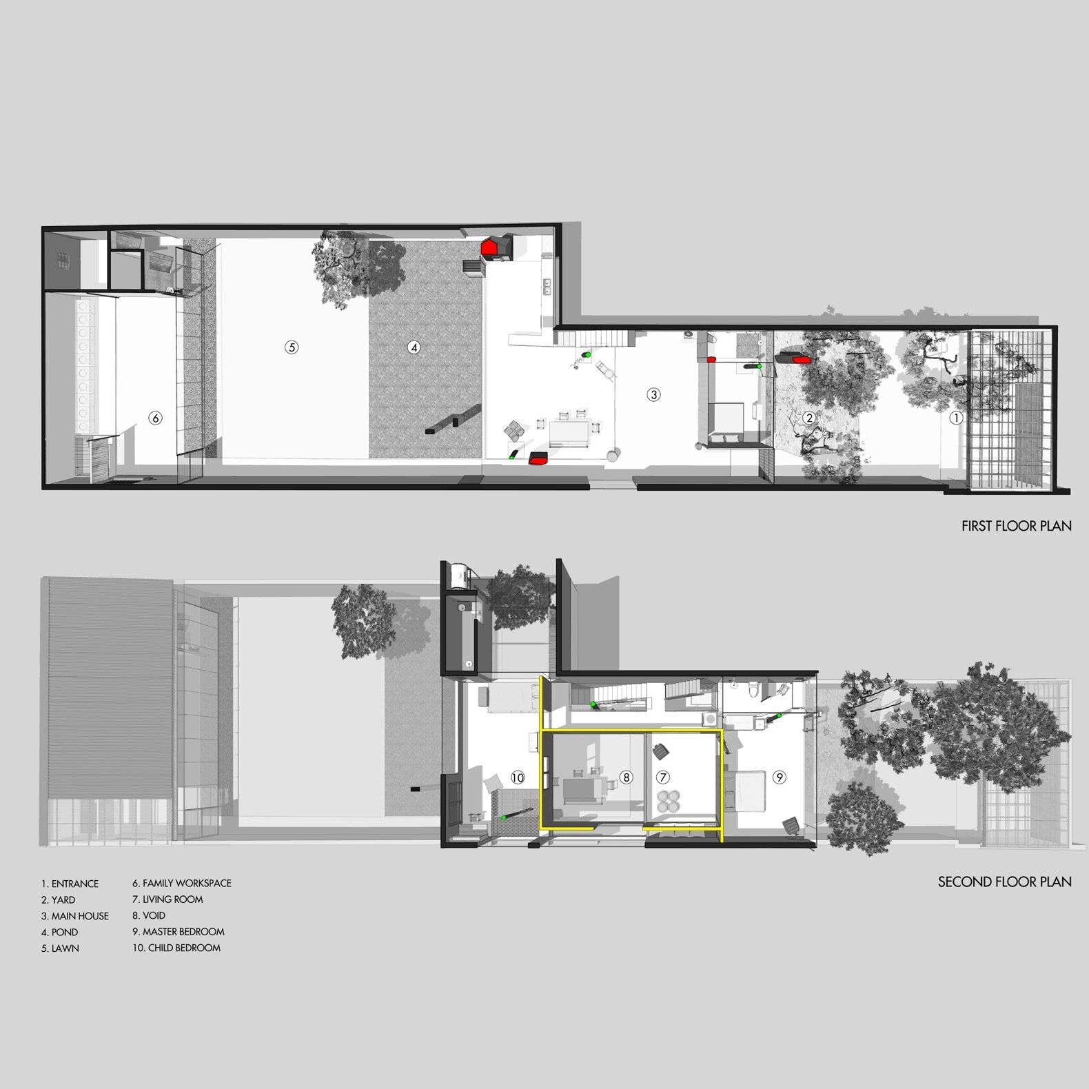 Da House first- and second-level floor plans