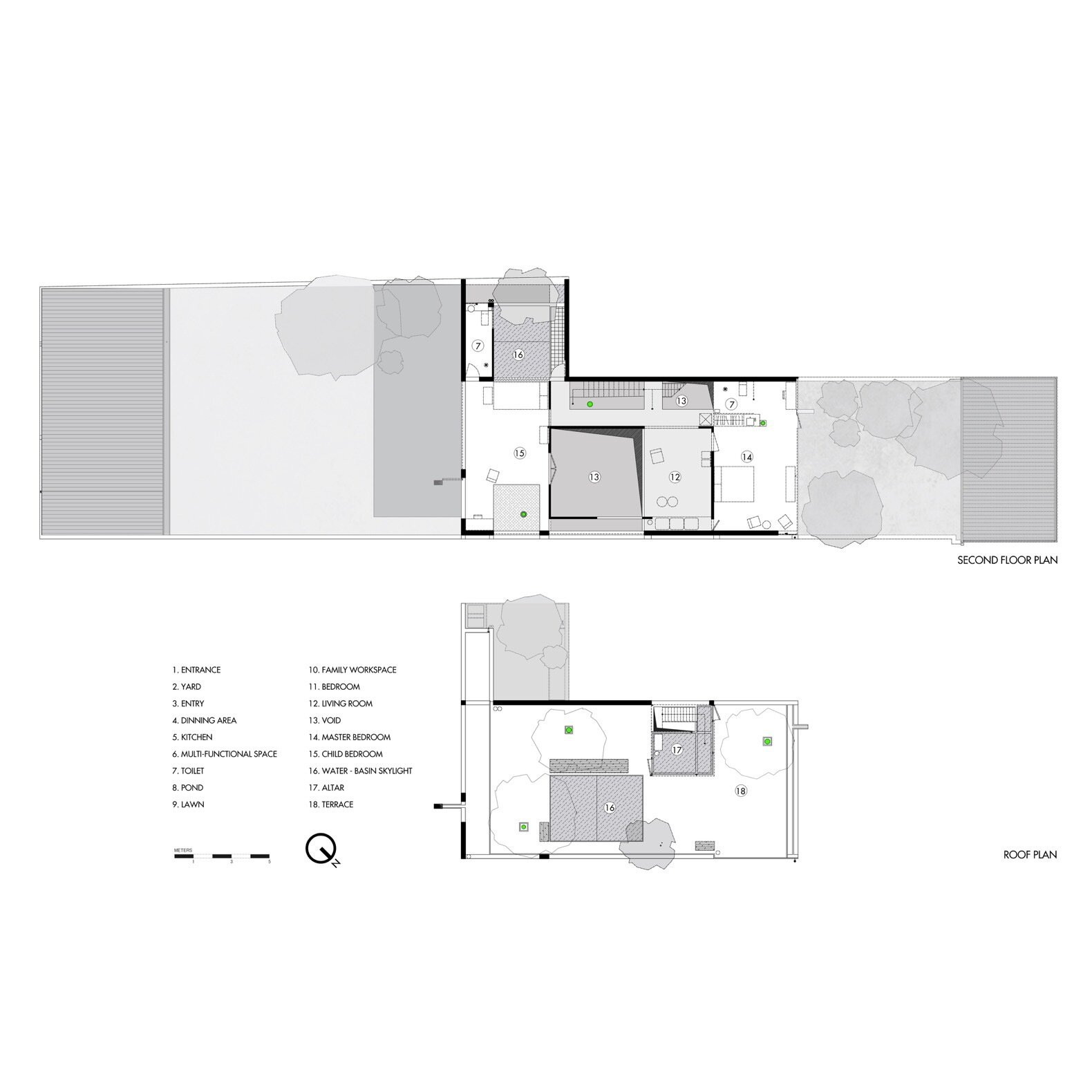 Da House second-level and roof floor plans