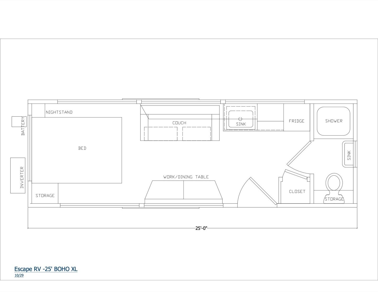Floor plan of a standard ESCAPE BOHO XL model