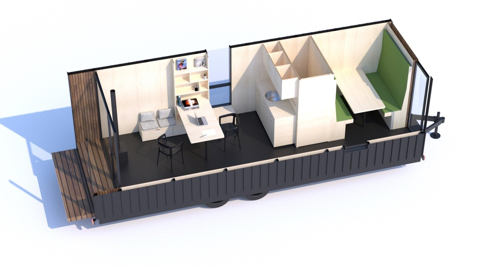The DW home office layout  Photo 16 of 16 in Modern Shed Launches a Go-Anywhere, Do-Anything Tiny House That Starts at $129K