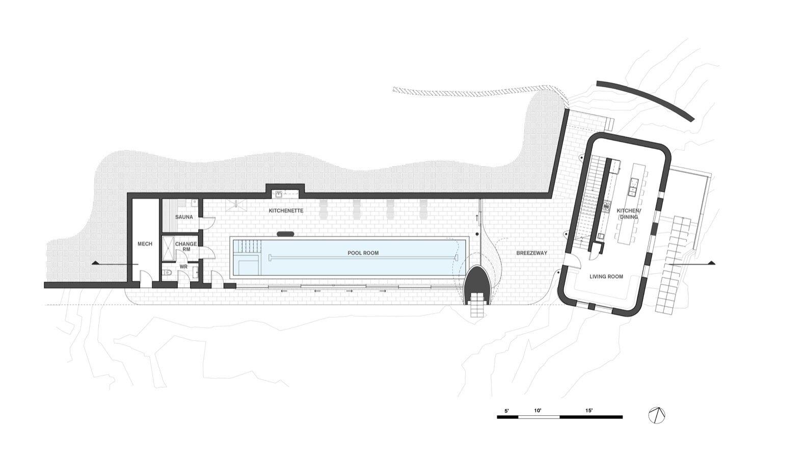 Fold House lower floor plan