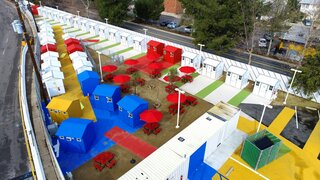 L.A. Is Taking On Homelessness With a New, Brightly Colored Tiny Home Village